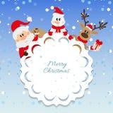 Santa Claus, muñeco de nieve y reno Imágenes de archivo libres de regalías