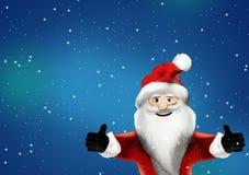 Santa Claus muestra dos pulgares para arriba porque él le gusta él la representación 3d Fotografía de archivo libre de regalías