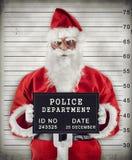 Santa Claus Mugshot. Mugshot of Santa Claus criminal under arrest stock photos