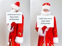 Santa Claus Mugshot. Santa is holding name board template Stock Image