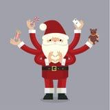 Santa Claus Muito-armada no cinza Fotos de Stock