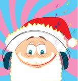 Santa Claus and music fun. Christmas postcard with Santa .Vector cartoon Royalty Free Stock Photography