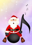 Santa Claus on music note Royalty Free Stock Image