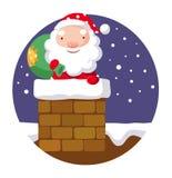 Santa Claus na chaminé Fotos de Stock Royalty Free