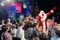 Santa Claus na fase Imagem de Stock Royalty Free