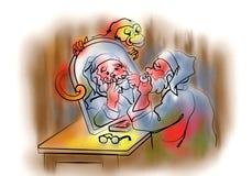 Santa Claus na frente do espelho Fotos de Stock