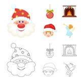 Santa Claus, nano, camino e fumetto della decorazione, icone del profilo nella raccolta dell'insieme per progettazione Simbolo di Immagine Stock
