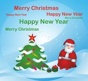 Santa claus near Christmas tree Royalty Free Stock Photography