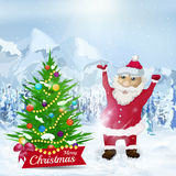 Santa claus near christmas tree on winter snow landscape. Royalty Free Stock Photo