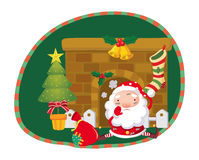Santa Claus. Near the fireplace Stock Photos