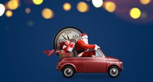 Santa Claus nedräkning på bilen arkivfoto