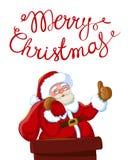 Santa Claus nel camino con il sacco dei regali Immagine Stock Libera da Diritti