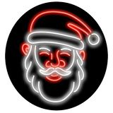 Santa Claus Neon Glowing Sign Circle. Retro illustration showing a 1990s glowing neon sign light signage lighting of a head of Santa Claus viewed from front set stock illustration