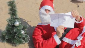 Santa claus new year  2020 2021 change  christmas tree. Happy stock video