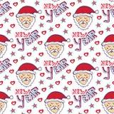 Santa Claus New Year-patroon Kerstmis verpakkend document Leuke naadloze achtergrond Stock Afbeeldingen