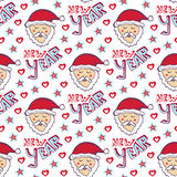 Santa Claus New Year pattern. Christmas wrapping paper. Cute seamless background Stock Images
