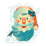 Santa Claus. New Year`s Christmas. Red and blue color. Isolated vector image vector illustration