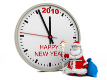 Santa Claus with New Year's clock Stock Photos
