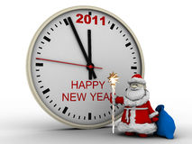 Santa Claus with New Year's clock. On white background. 3d render royalty free illustration