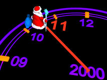 Santa Claus with New Year's clock. Santa goes on the New Year's clock. On black background. 3d render Stock Images