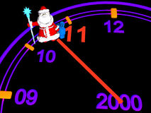 Santa Claus and New Year's clock. Santa and the New Year's clock. On black background. 3d render stock illustration