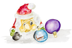 Santa Claus and New Years balls. Isolated- handmade watercolor  painting illustration on a white rough surface paper art background Royalty Free Stock Image