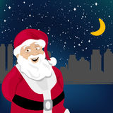 Santa claus with night city. Background vector Stock Photos