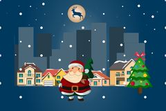 Santa Claus on a night city. Vector illustration Royalty Free Stock Images