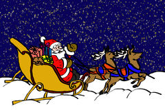 Santa claus in the night. Santa claus with sleigh in a starry night cartoon Royalty Free Stock Photography