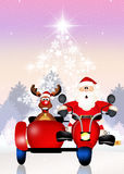 Santa Claus no side-car Fotografia de Stock Royalty Free