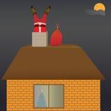 Santa Claus no telhado Fotografia de Stock