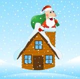 Santa Claus no telhado da casa com um saco dos presentes ilustração do vetor