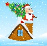 Santa Claus no telhado de uma casa com uma árvore de Natal ilustração stock