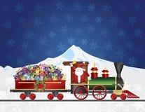 Santa Claus no trem com presentes na neve S da noite Imagem de Stock