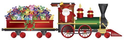 Santa Claus no trem que entrega presentes Illustrat Imagem de Stock Royalty Free
