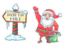Santa Claus and North Pole sign Royalty Free Stock Images