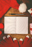Santa Claus notebook for good children wish list Royalty Free Stock Photos