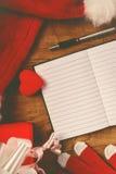 Santa Claus notebook for good children wish list Stock Image