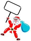 Santa claus with notice board. Line art cartoon image Stock Photos
