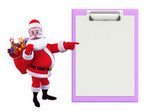Santa Claus With-Notizblock Stockfoto