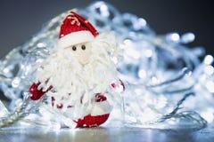 Santa Claus o padre Frost con le luci di Natale Fotografia Stock