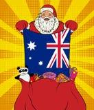 Santa Claus obtient le drapeau national de l'Australie hors du sac avec des jouets dans le style d'art de bruit Illustration de n illustration de vecteur