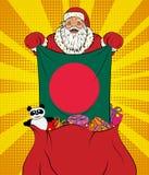 Santa Claus obtient le drapeau national du Bangladesh hors du sac avec des jouets dans le style d'art de bruit Illustration de no illustration stock