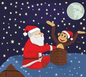 Santa Claus och apa på taket Arkivbild