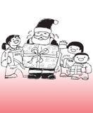 Santa Claus och barn Arkivbild