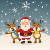 Santa Claus och berusad ren Fotografering för Bildbyråer