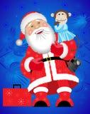 Santa Claus och en apa Royaltyfri Fotografi
