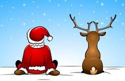 Santa Claus och en ren stock illustrationer