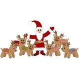 Santa Claus och gulliga deers Fotografering för Bildbyråer
