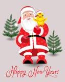 Santa Claus och höna Royaltyfri Bild